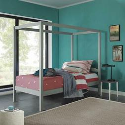 Sutton Wood Canopy Twin Bed, Gray