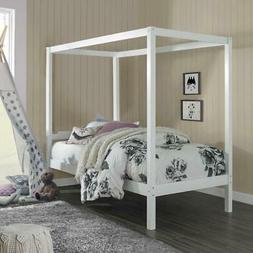 Sutton Wood Canopy Twin Bed, White