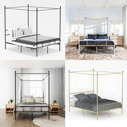 Twin Full Queen Size 4 Post Metal Canopy Bed Frame Platform