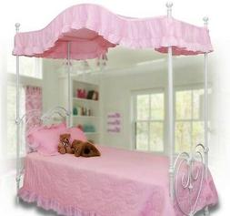 Twin size PINK Ruffled canopy cover / top for a Canopy Bed G