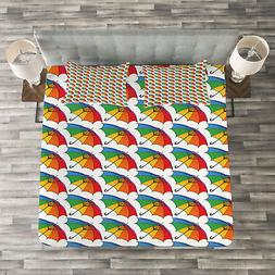 Umbrella Quilted Bedspread & Pillow Shams Set, Rainbow Color