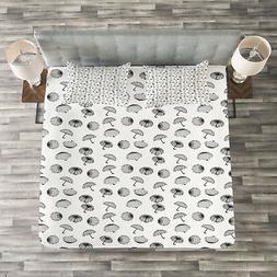 Umbrella Quilted Bedspread & Pillow Shams Set, Checkered Bla